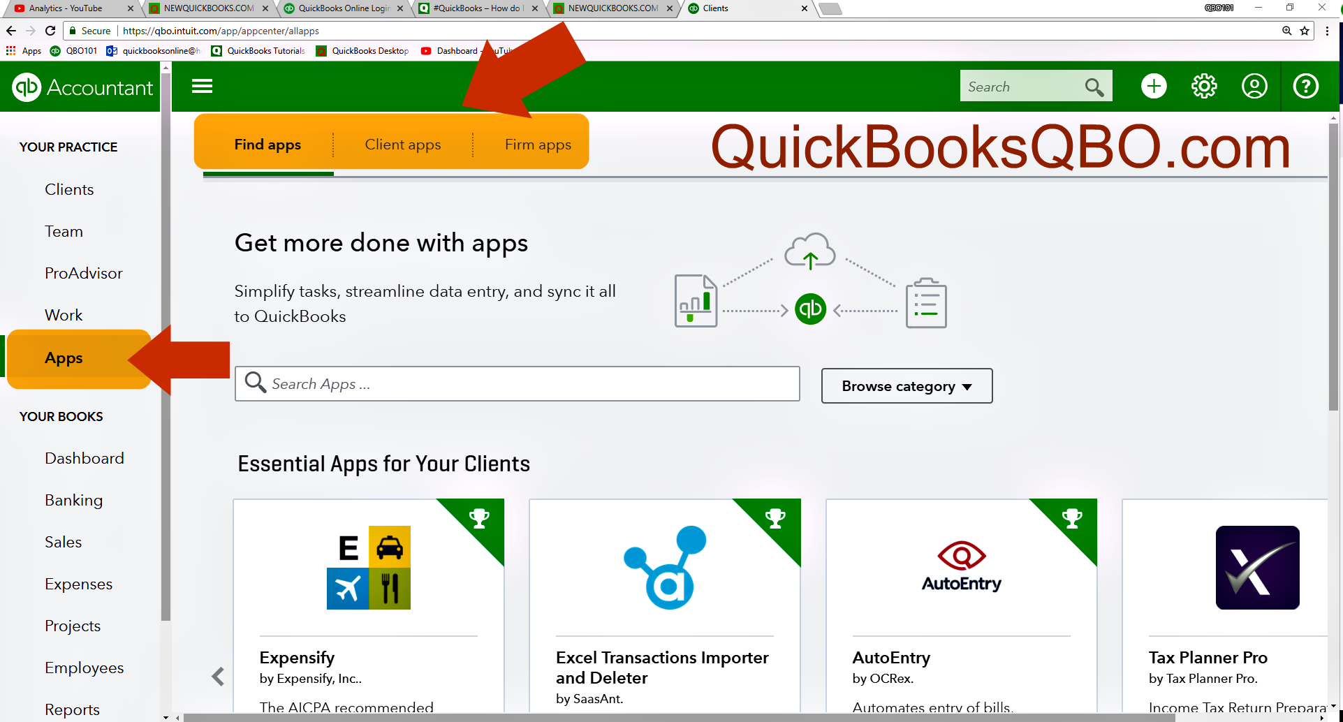 Apps tab in QuickBooks Online Accountant QBOA | NEWQBO COM