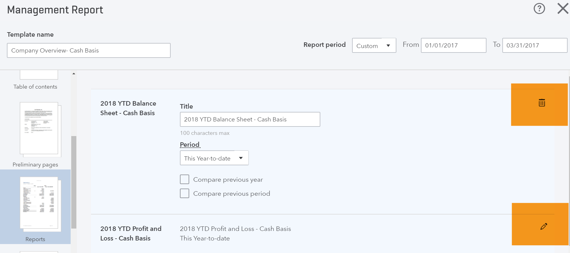 Management Report Add Delete Icons