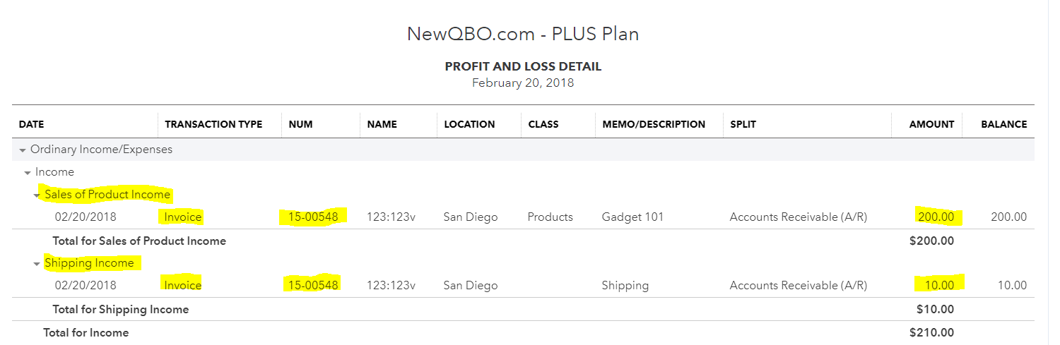 Profit and Loss Detail Report sorted by account/customer
