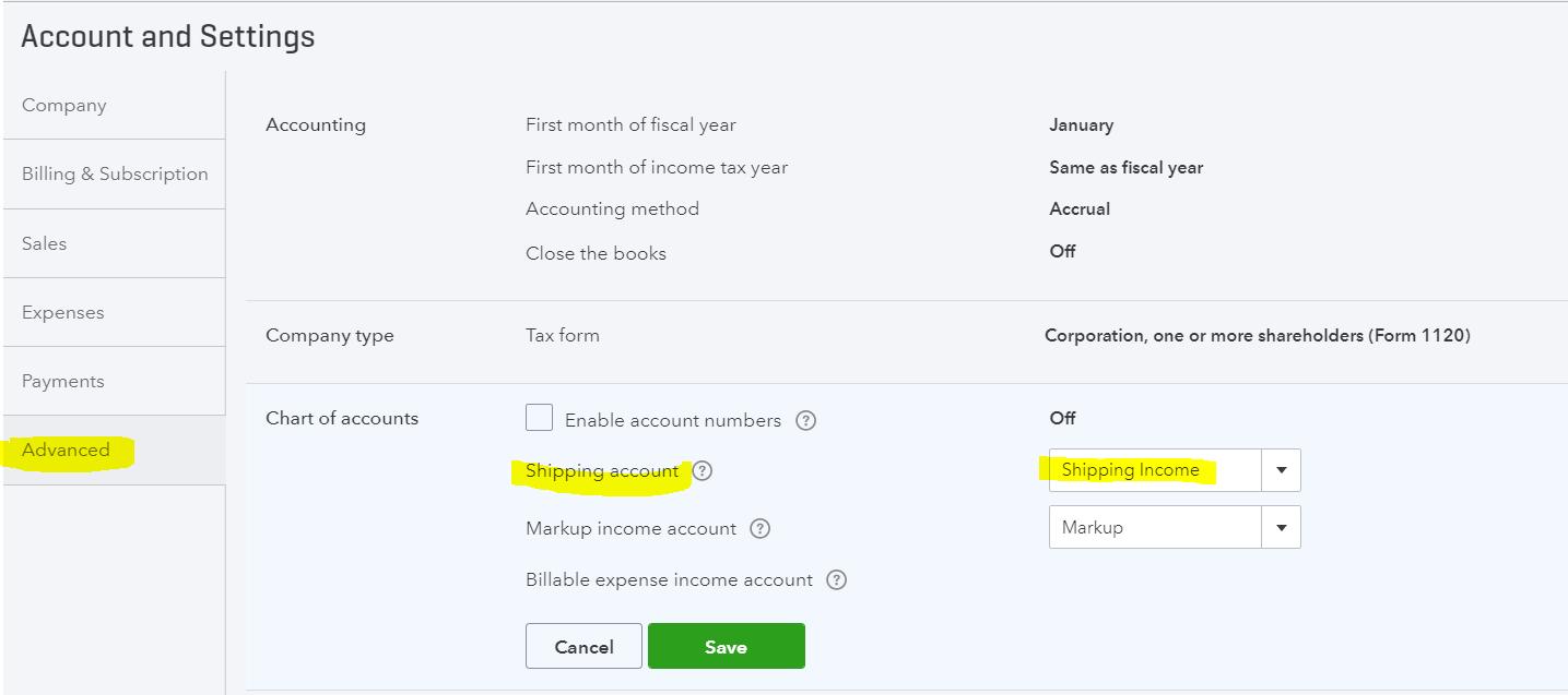 Setup Shipping Income Account